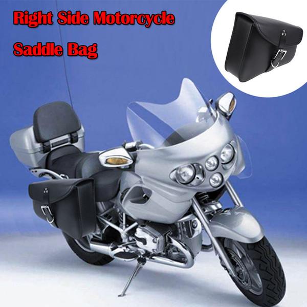 2019 New Universal schwarz PU Leder Right Side Motorrad Satteltasche Leder Aufbewahrungstasche Side Bag halten die Werkzeuge und Flasche # P15