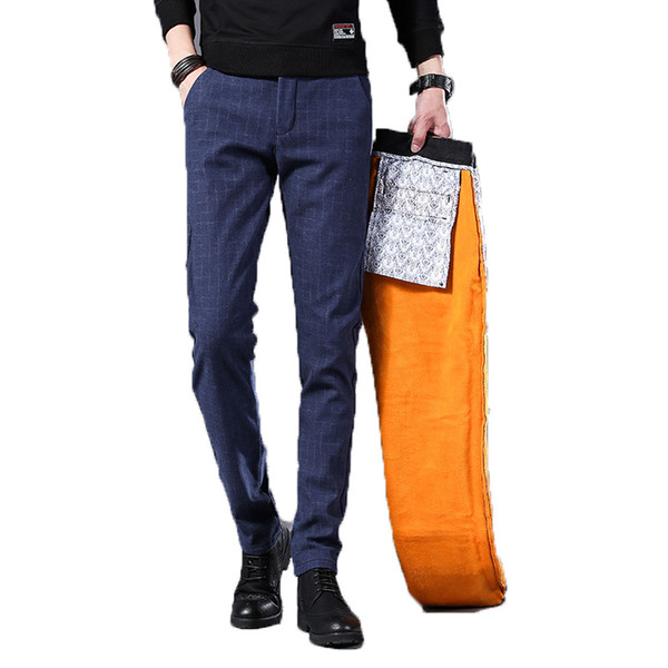 winter pants men fleece warm velvet casual dress pants male skinny slim fit thick men's trousers elastic stretch long plaid pant