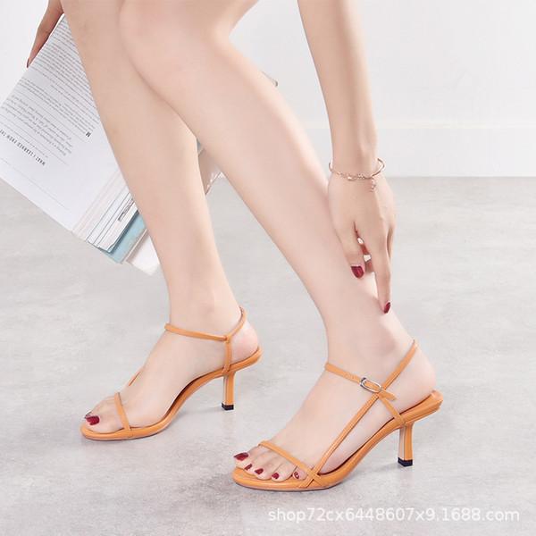 Новые женские босоножки на высоком каблуке и с открытым верхом с сандалиями OneWordBelt Римские сандалии Ashui и та же женская обувь SuperFire Ribbon