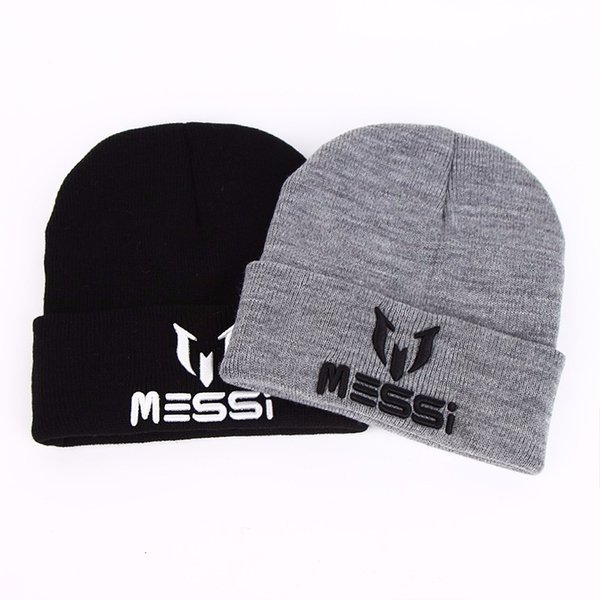 738af3785df096 TUNICA New Soccer Messi Fans Hat women Men Skullies Black Gray Women Beanie  Whiter Hats Beanies