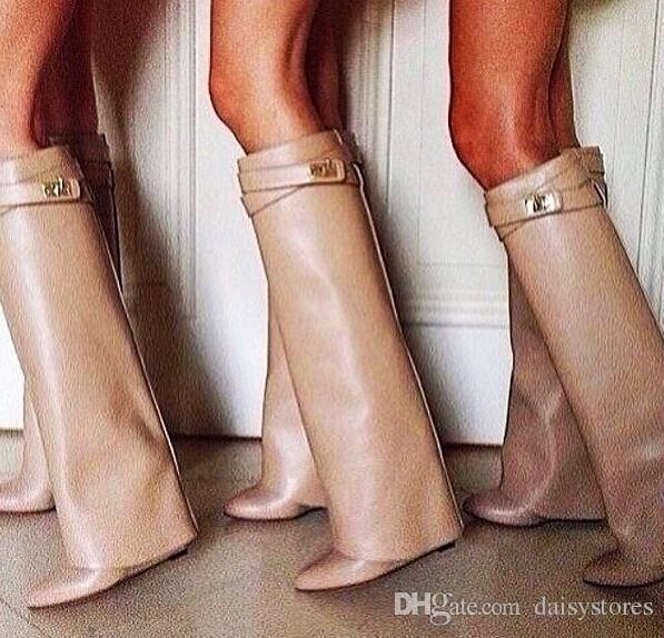 Meistverkaufte Gürtelschnalle Keilstiefel Frauen Sexy Spitzschuh Lock Kniehohe Stiefel Höhe Zunehmende Stiefel größe 35-42
