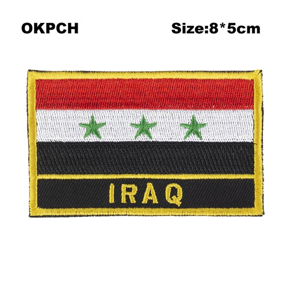 Free Shipping 8*5cm Iraq Shape Mexico Flag Embroidery Iron on Patch PT0201-R