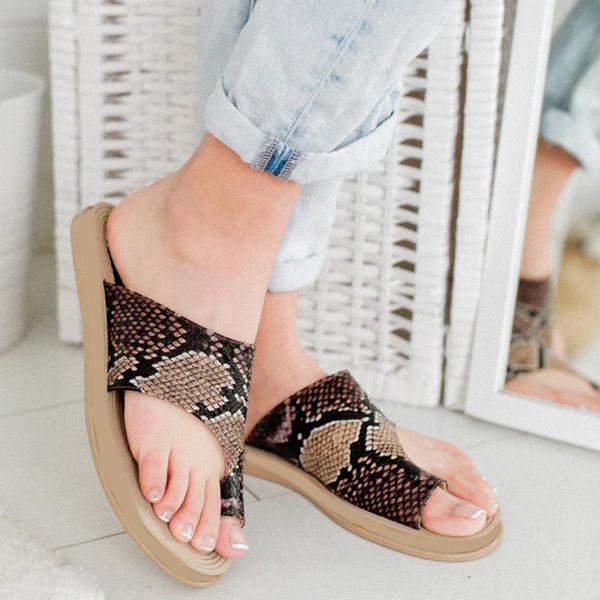 SAGACE Slippers Rome Women Summer Leisure Slippers Snake Beach Open Toe Sandals Designer Flip Flops Women Flat May 23