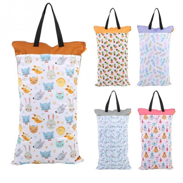 40*70cm Large Hanging Wet/dry Pail For Cloth Diaper Inserts Nappy Laundry With Two Zippered Waterproof Reusable Nursing Bag Q190530