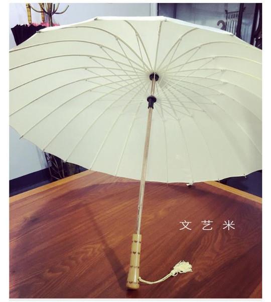 Vintage Wood Bamboo Handle Strong Long Rain Umbrella Women Men 16K Glassfiber Japanese style Parasol