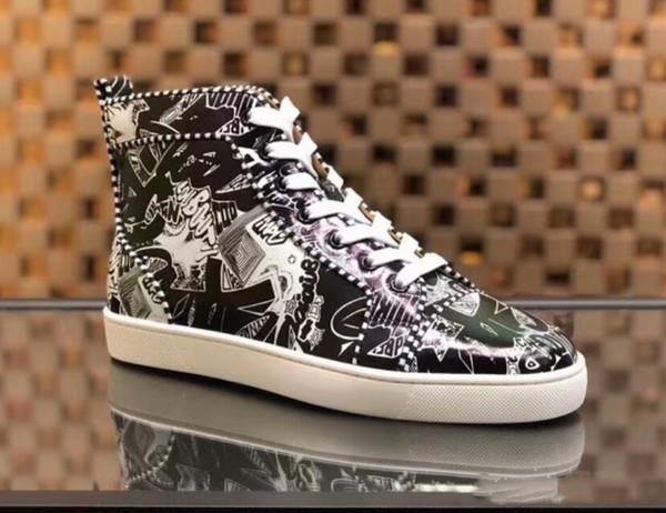 [Asıl Kutusu] Toptan Kırmızı Alt Desginer Ayakkabı Rantus Orlato Erkekler Düz Sneakers Graffiti Ayakkabı Kırmızı Alt Sneakers Parti Düğün Ayakkabı