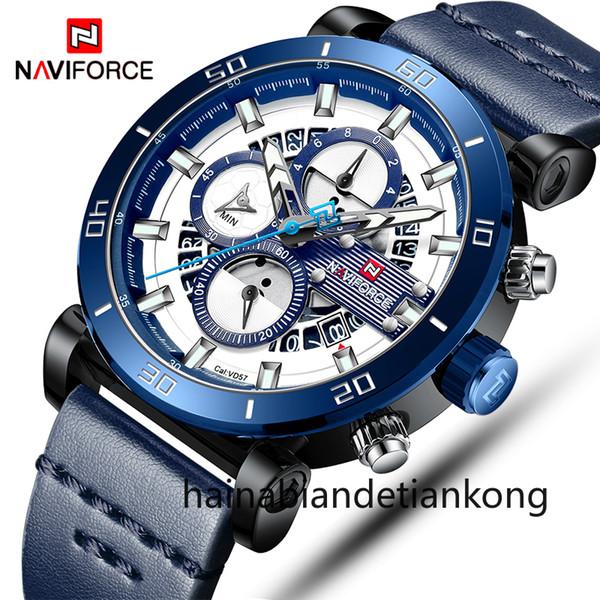 Naviforce erkek spor saatler erkekler üst marka lüks deri kuvars otomatik tarih saat erkek ordu askeri su geçirmez bilek İzle