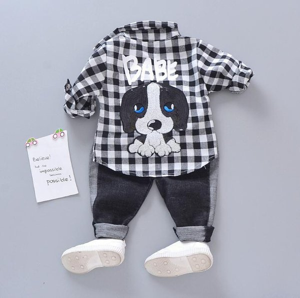 New Spring Autumn Baby Boys Clothes Set Kids Cartoon Dog Plaid Shirt Tops + Jeans Pants 2pcs Outfits Children Clothing Suit 14618