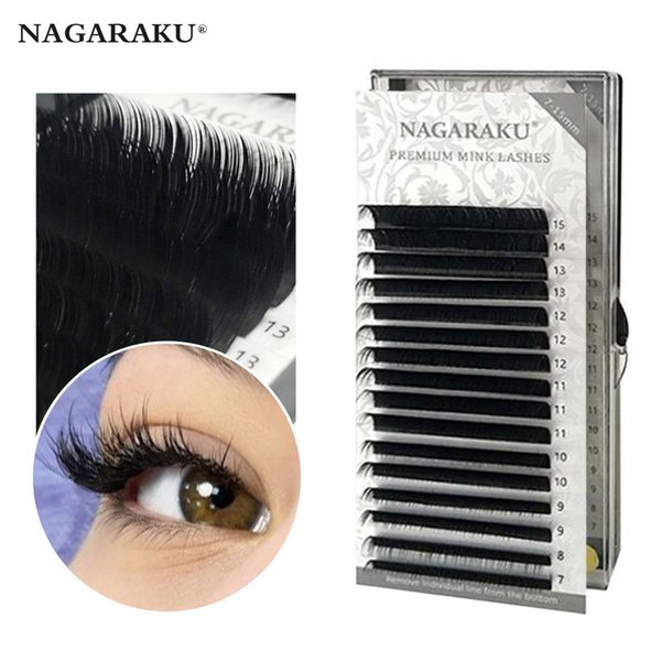NAGARAKU 16rows / custodia 7 ~ 15mm mix naturale visone sintetico individuale estensione ciglia trucco maquiagem cilios