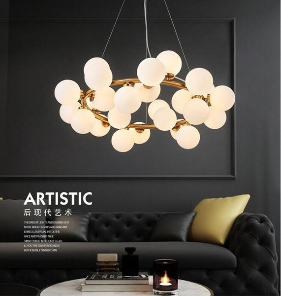 Poste moderno moderno salón linterna personalidad creativa lámpara pendiente burbuja de cristal bola frijoles mágicos luces colgantes