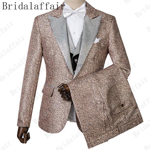 New Arrival Groomsmen Shiny Fabric Groom Tuxedos Peak Lapel White Lapel Men Suits Back Vent Wedding/Prom Best Man ( Jacket+Pants+Tie+Vest)