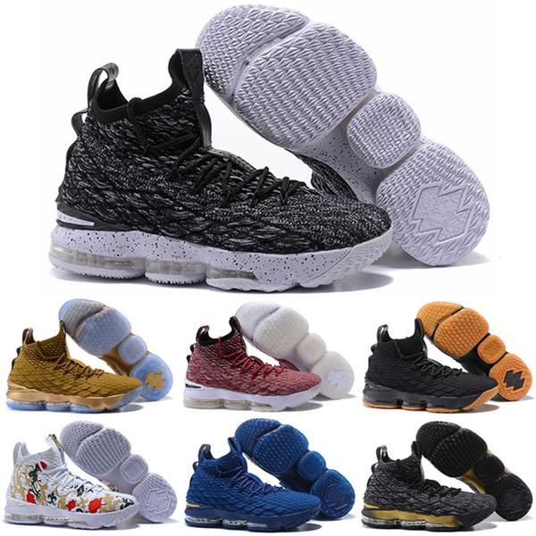 2019 what the lebron 15 chaussures de basketball pour femme à vendre MVP Noël BHM Oreo noir or jeunesse enfants génération baskets pour hommes