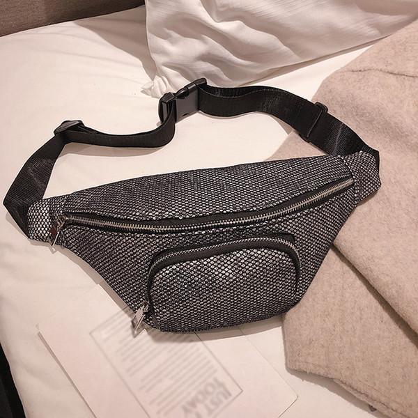 1bb4a6229eff Женские сумки 2019 Новая мода Нейтральный Открытый молния блесток Messenger  Спорт Грудь сумка Талия Пакет сумки