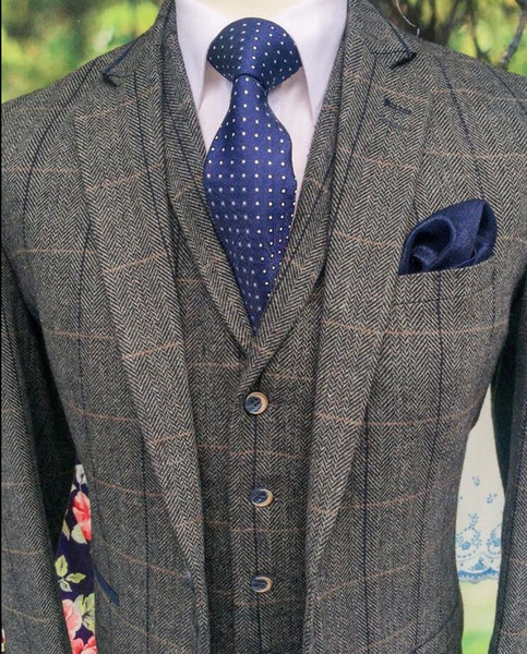Gray Men's Three Pieces (Blazer+Pant +Vest) Classic Tweed Herringbone Check Slim Fit Vintage Men's Custom Made Suits