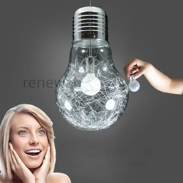 Modern Minimalist Creative Personality LED Glass Big Light Bulb Chandelier Restaurant Bar Aisle Gold Silver Bedroom Lamps