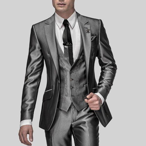 Hot Sale Slim Fit Groom Tuxedos Shiny Grey Best Man Suit Notch Lapel Groomsman Men Wedding Suits Bridegroom(jacket+pants+vest) C19041601