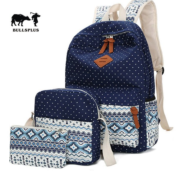 New style Canvas Backpack national style three piece cover mother bag student leisure backpack small BOOKBAG