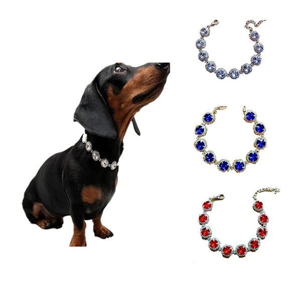 Rhinestone Pet Necklace Dog Collars Jewelry Accessories Colors Mix For Small And Medium Exquisite 7 9mp F1