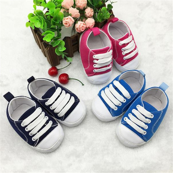Baby casual shoe Lace-Up Canvas casual babyshoes Toddler Shoes Anti-Slip Soft Solid Canvas Shoes baby