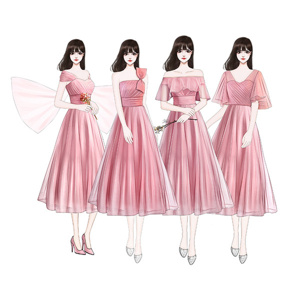 Beauty Emily Dark Pink Bridesmaid Dresses 2019 Bride Elegant Dress Women for Wedding Party Special Occasion wedding guest