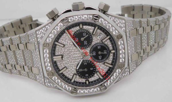 Mens JH Fabrik Qualität Top Verkauf Ice Bling in VK-Quarz 26320ST weißes Zifferblatt mit schwarzen Subdials Voll Diamanten Gepflasterte Dial Armbanduhr