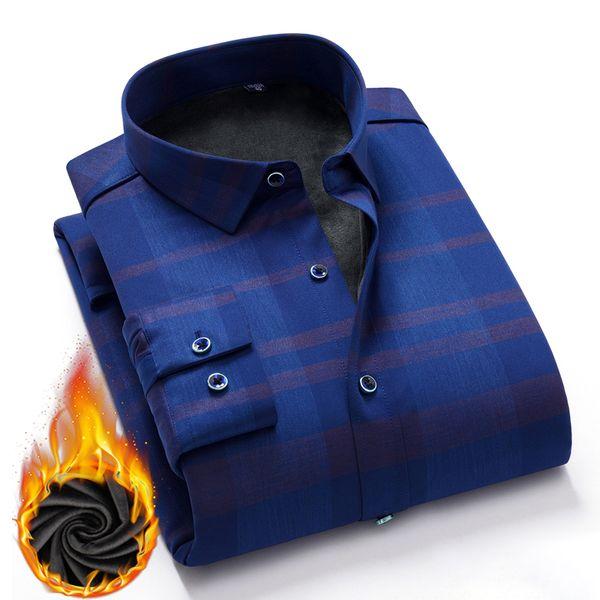 4f7a0d7c317990a Рубашки мужские повседневные рубашки зимние толстые теплые рубашки в клетку  сплошной цвет гладкая elestic классическая рубашка