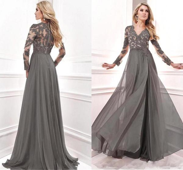 2020 Новая коллекция Матери невесты платья вечерние платья Вечерние платья с оболочкой шнурка Appliuqes длинным рукавом V шеи BA4416