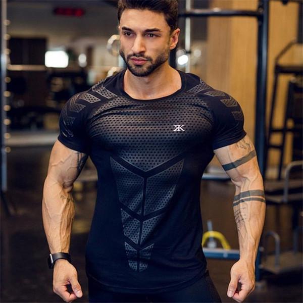 2019 Hommes T-shirt Élastique De Mode Fitness Élastique À Manches Courtes Hommes Gymnases Casual Serré T-shirts Bodybuilding Tees Tops