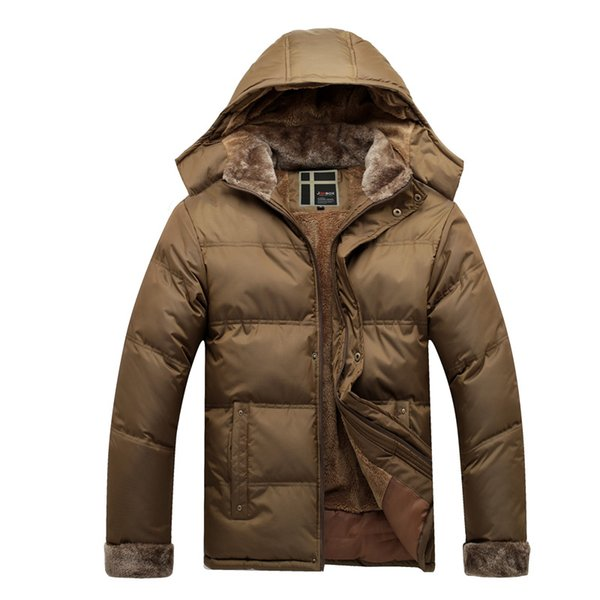 Men Warm Thick Fleece Coats Winter Snow Hooded Fur Collar Slim Fit Parka Brand Casual Cotton Fashion Padded Jackets SL-E439