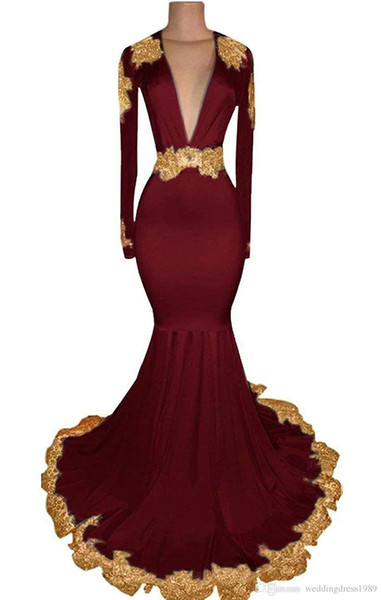 Mermaid Burgundy Pink Prom Dresses 2019 Long Sleeves Gold Appliques Keyhole Back Party Gown Formal Evening Dress robe de soiree