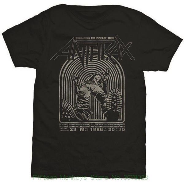 Nova Moda Masculina T-shirt Anthrax Masculina Espalhando A Doença de Manga Curta T-shirt, Preto, X Grande Mens