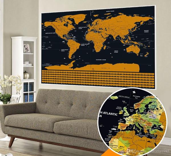 Drop shipping büyük boy Deluxe Edition Scratch Dünya Haritası Scratch Off Katmanlı Görsel Seyahat Dergisi için seyahat haritaları duvar çıkartmaları 82.5x59 cm
