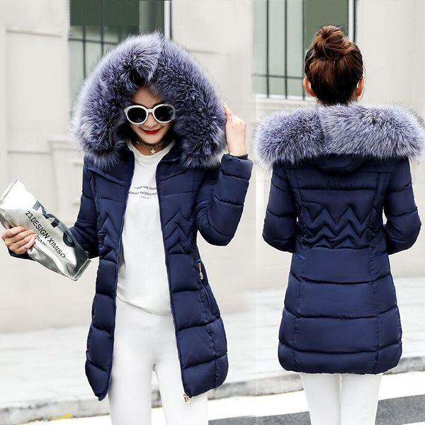 30553f23f Chaqueta de invierno Mujer Nuevo 2018 Abrigos Collar de pelo de mapache  artificial Hembra Parka negro