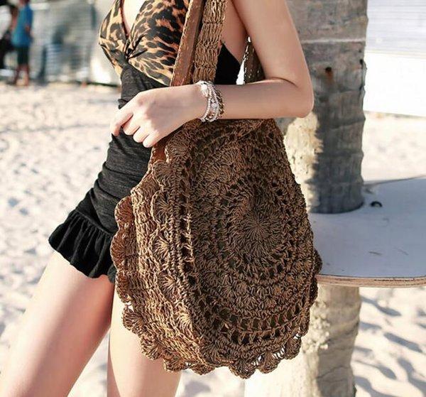 Designer sacos Bohemian palha para as Mulheres Big Círculo Praia Bolsas Verão Rattan Vintage Saco Handmade kintted Malas de Viagem / 3