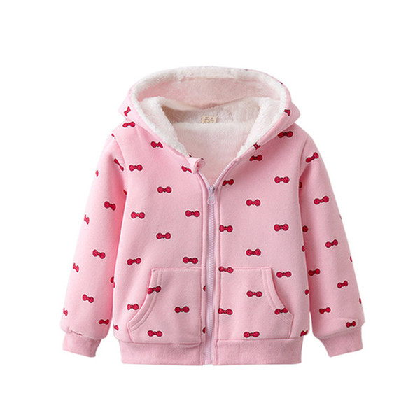 good quality Cartoon Fashion High Quality Warm Coat For Girl Kids Casual Printing Long Sleeve Outwear Children Plus Velvet Clothes
