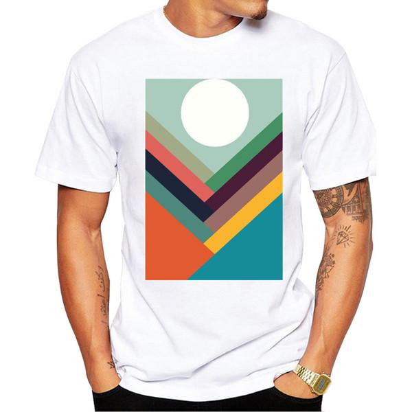Новинка Модная футболка с принтом Ряды долин Модные белые удобные топы Новые летние футболки Классные мужские летние рубашки