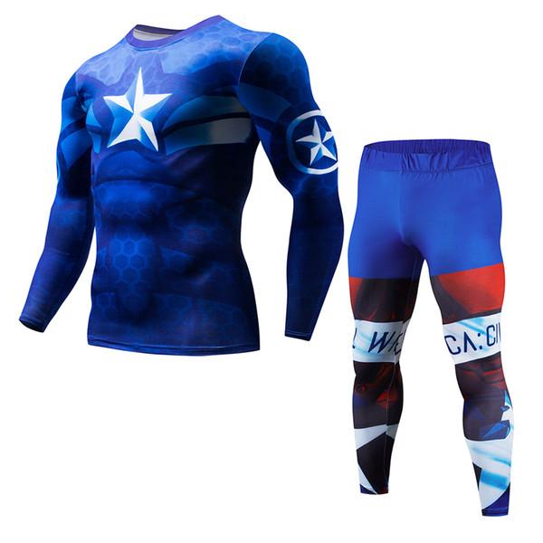 Kahraman kostüm 3D baskı erkek sıkıştırma T-shirt 2017 yeni erkek spor pantolon Crossfit ceket Vücut Geliştirme giyim pantolon