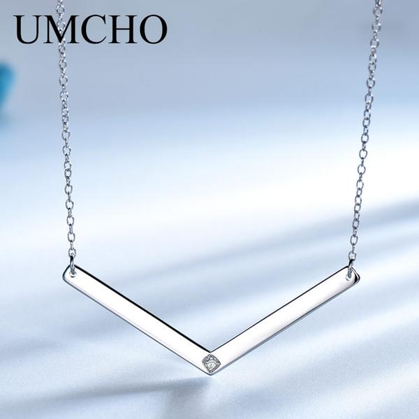UMCHO Sólidos Jóias 925 Colar da prata esterlina da forma do estilo Custom Name Bar Pingentes para o aniversário do sexo feminino presente Fine Jewelry