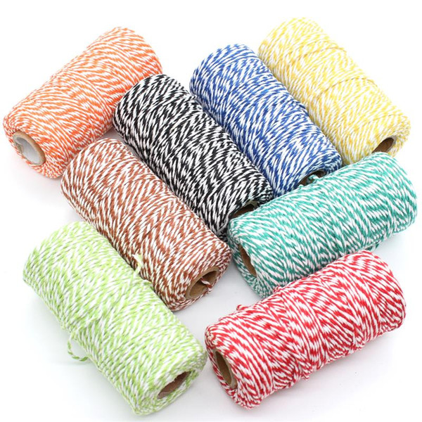 top popular KSCRAFT 2mm Bakers Twine Natural Cotton Cord DIY Decorative Handmade Rope For Papercrafting 100m roll 2021