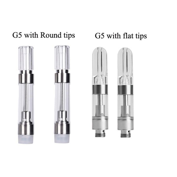 Ceramic Coil G5 Vape Cartridges 0.5ml 1.0ml for Dank Vapes Cereal Box Round Acrylic Mouthpiece Press-in 510 Thread Thick Oil Cartridge