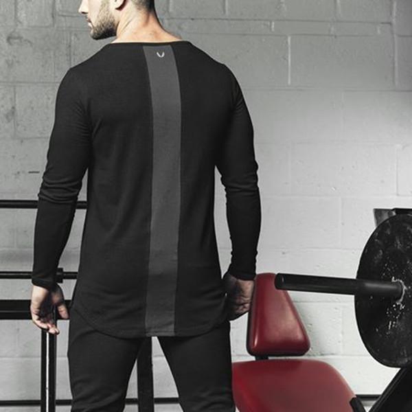 2018 мужские летние тренажерные залы тренировки Фитнес футболка высокого качества Бодибилдинг футболки О-образным вырезом с длинными рукавами хлопок Tee топы одежда для мужчин