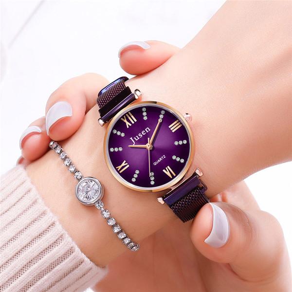 Lujo de las señoras de las mujeres relojes de la pulsera del Rhinestone Vestido de cuero de la venda del análogo de cuarzo del reloj del reloj de la manera del deporte