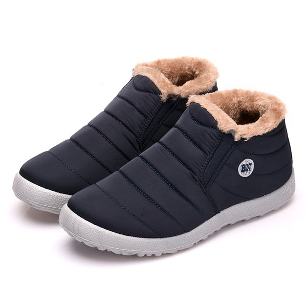 Compre Botas De Invierno Moda Para Hombre Flock De Piel Zapatos Cálidos Hombre Cuero Negro Tobillo Botas Para La Nieve 2019 Nuevo Casual Para Hombre
