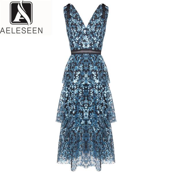 AELESEEN Designer Dress 2019 Summer Sleeveless Fashion V-Neck Luxury Club Midi Party Elegante blu sexy abito con paillettes
