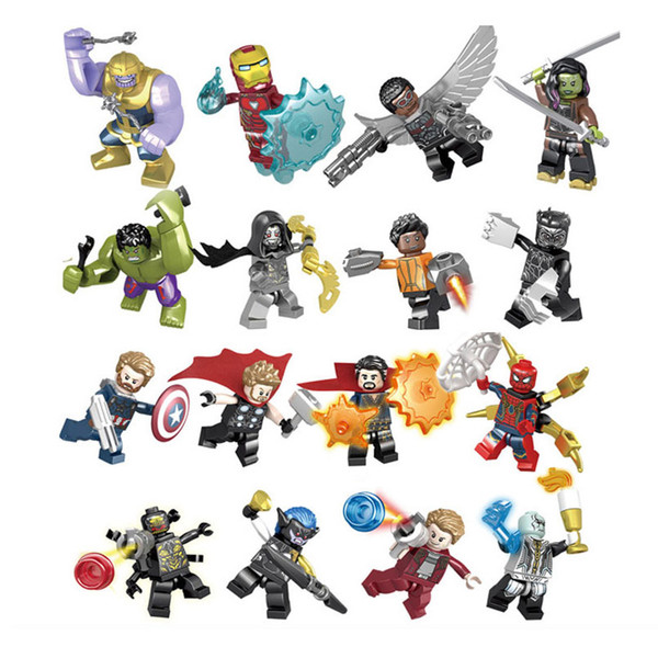 Super Hero Avengers 3 Infinity War Iron Man Hulk Thanos Thor Thanos Doctor Stranger Spider Man Groot Building Block Toy Figure Brick