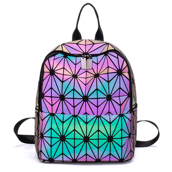 MoneRffi Luminous Backpack Mulheres Mochilas diário Holograma Feminino Geometria Bolsa Sacos Folding bolsa de ombro Escola Travel Bag