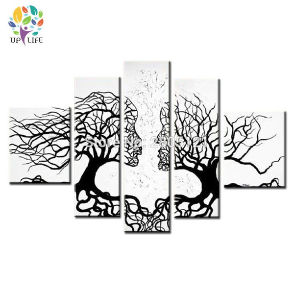 handmade modern abstract Wall pictures love kiss white black tree root canvas art 5 Panels home Decorative oil painting