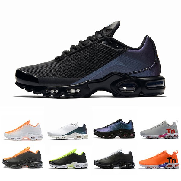 Compre Nike Air Max Plus Tn SE Shoes Just Do It Hyper Carmesí Triple Negro Blanco Hombres Malla Chaussures Homme Para Hombre De Las Zapatillas De