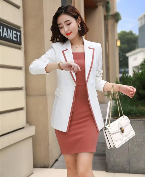 Compre Vestido De Las Señoras Trajes Para Mujeres De Negocios Trajes Chaqueta Blanca Y Chaqueta Conjuntos De Ropa De Trabajo Uniformes Oficina Estilos