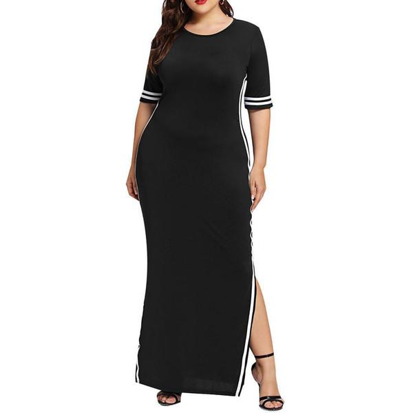 vetement femme 2019 Women Fashion Sheath Long Dress Casual ladies girls Slim Stripe Split straight Dresses vestidos de festa